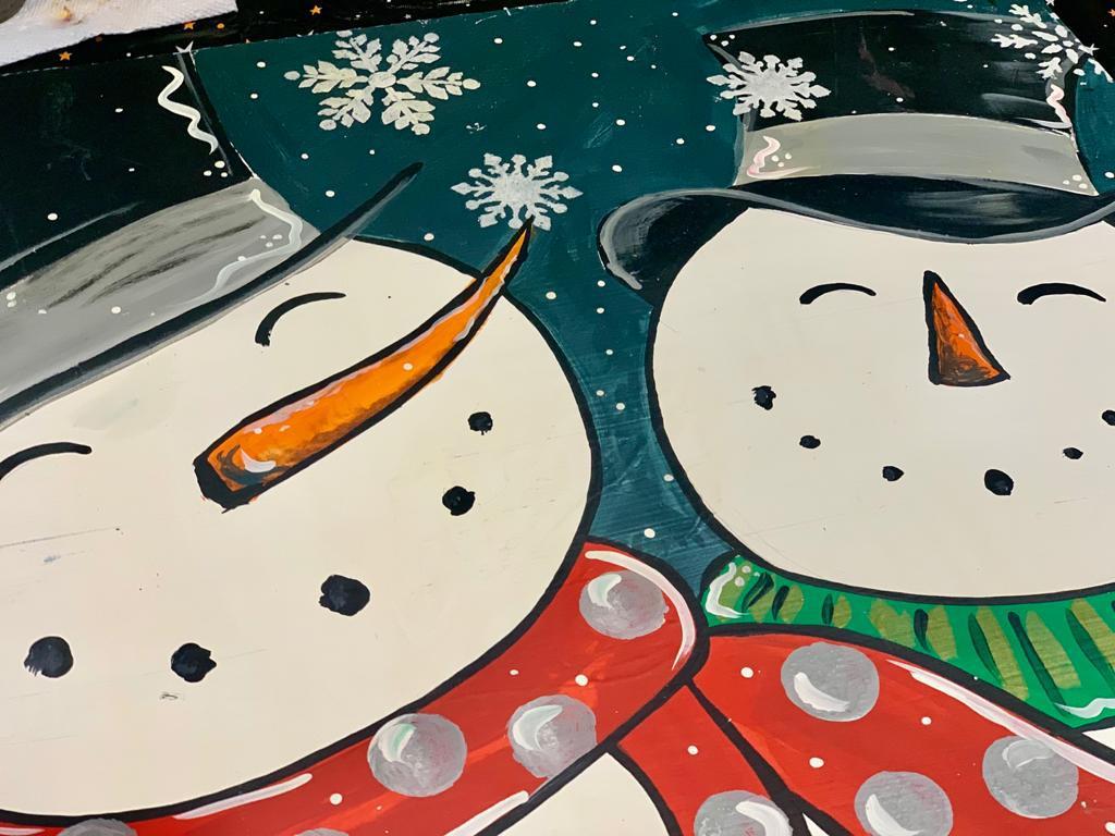 2 snowmen painted side by side