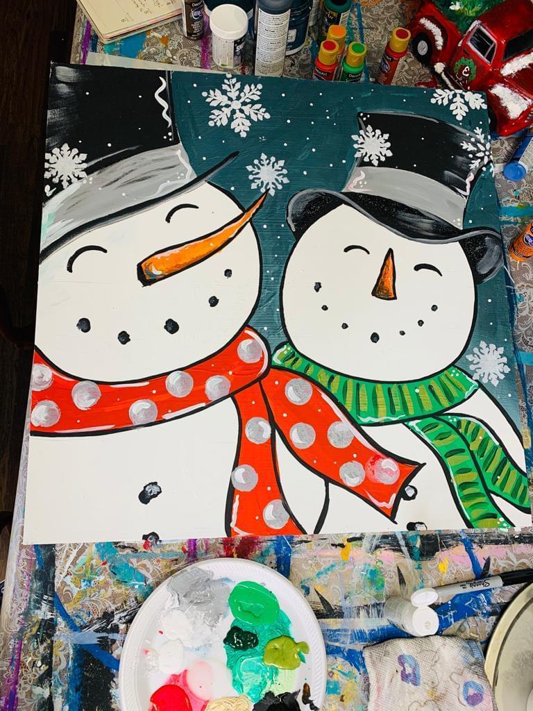 painted double snowman